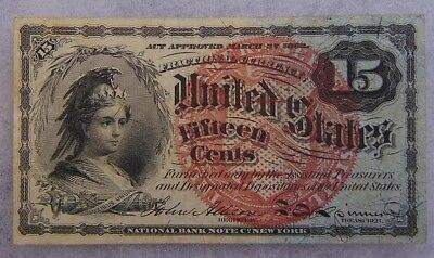 1863 US Fractional Currency 15 Cent Note Nice Shape Ungraded