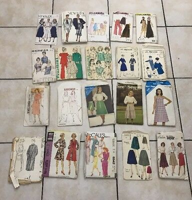 Job Lot 20 Assorted Vintage  Ladies Womens Womans Sewing Dressmakers Patterns A