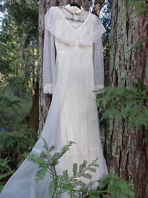 VINTAGE Wedding Prarie Dress 70s Victorian Peasant Lace Floor Length Gown