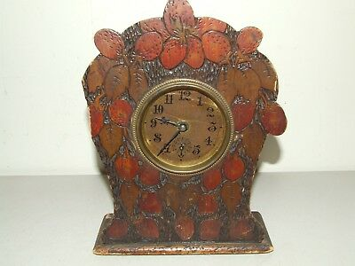 Antique 19th C. GILBERT Alarm Mantel Shelf Clock with Carved Strawberries Case
