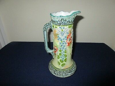 Antique Japanese Asian Pottery Porcelain Nippon Moriage Decorated Vase Pitcher