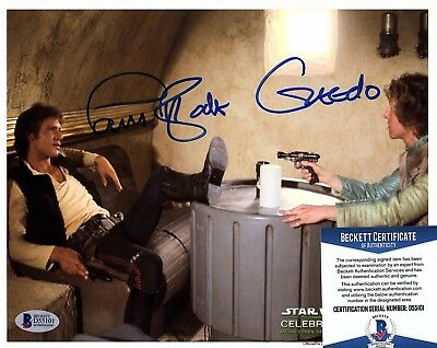 "PAUL BLAKE Signed Autographed 8x10 Greedo ""STAR WARS"" BECKETT #D55101"