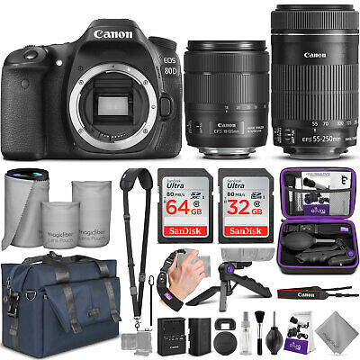 Canon EOS 80D DSLR Camera with 18-135mm and 55-250mm Lens w/ Accessories Bundle