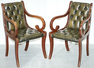 Pair Of Vintage Chesterfield Aged Green Leather Mahogany Desk Office Armchairs