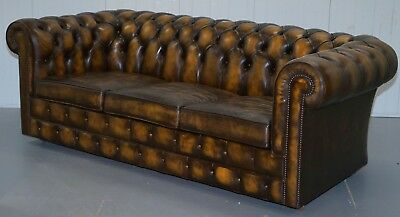 Substantial Hand Dyed Aged Brown Leather Chesterfield Sofabed From Mill Rook