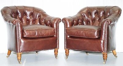 Pair Of Restored Howard & Sons Chesterfield Brown Leather Stamped Club Armchairs