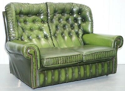 Aged Vintage Green Leather Chesterfield Monks Two Seater Sofa Part Of A Suite