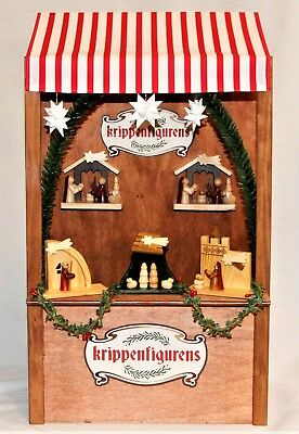 Byers Choice Nativity Market Stall Five Wooden Nativities - New - FREE SHIPPING