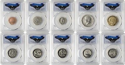 2017-S 10 Coin Set Enhanced Uncirculated PCGS SP69 Washington DC Label First Day
