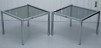 Pair Of Chrome Framed Smoked Glass Top Mid Century Modern Side Tables Lovely