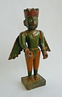 Antique Indian carved wood figure of Hindu God Garuda- 19th century- Large size