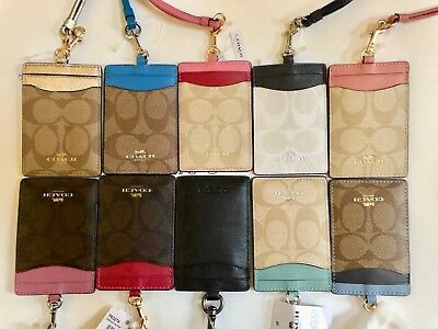 Nwt Coach Lanyard Id Holder Signature Case Card Pass Leather Canvas 63274