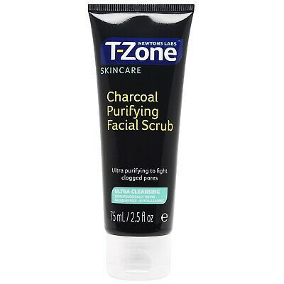 Newtons Labs TZone Charcoal Purifying Facial Scrub Clogged Pores Exfoliator 75ml