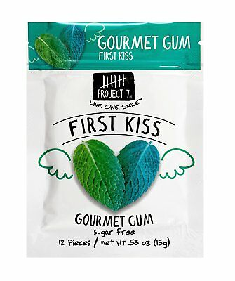 (3) Gourmet GUM Project 7 FIRST KISS Sugar Free 12 pieces (36 Pieces total)