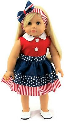 """Patriotic Red, White & Blue Dress & Headband fits 18"""" American Girl Doll Clothes"""