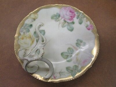 Unusual Antique Bavarian Handled Candy Dish With Roses A-5