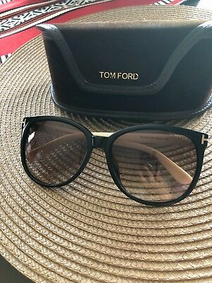 6d9dd388b3 New Tom Ford Leo TF 336 01V Black and Beige Sunglasses Unisex 52mm with case