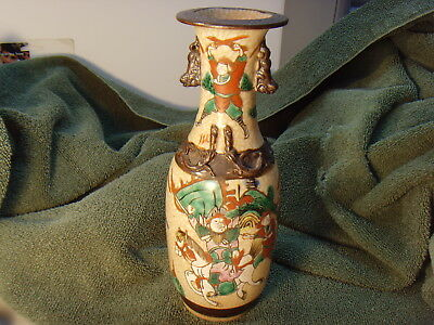 "Rare Antique 10"" Vase Japanese Fighting Samurai, Awesome Color Horses Signed"