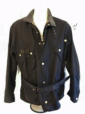 Barbour International waxed cotton belted jacket 44 Barbour Tartan lining