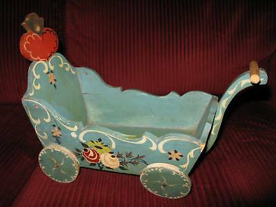 Vintage Hand Painted Wood Doll Cart - Dora Kuhn Co – Made in Germany U.S. Zone