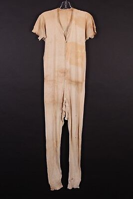 Vtg 50S Cotton Thermal Underwear Union Suit Long Johns Distressed Usa Size Large