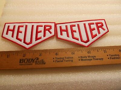 2 HEUER  Gas & Oil Iron on Patches  FREE SHIPPING