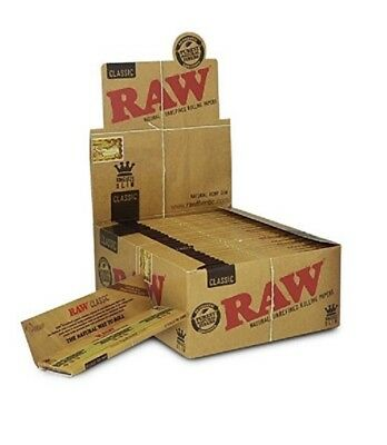 Raw Classic King Size Slim Rolling Paper Full Box Of 50 Packs  Raw