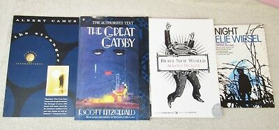 Required Reading Lot of 4 - THE STRANGER + THE GREAT GATSBY + NIGHT by Wiesel +