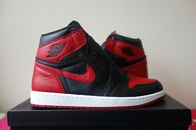 Nike Air Jordan 1 Retro High OG Banned BRED Black Varsity Red 555088 001  Toe New