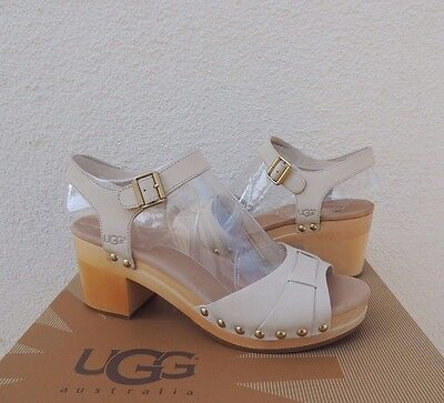 72eac407911 UGG JANIE ANTIQUE White Leather Clogs/ Sandals, Womens Us 7/ Eur 38 ~ Nib