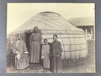 Mongolian Albumen Photograph of the Ta Shao Yeh and Family with Yurt, c. 1898