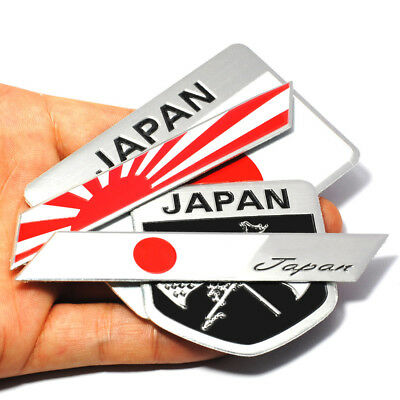 Alloy Japan Rising Sun Flag Emblem Japanese Rhombus Shield Car Sticker Badge