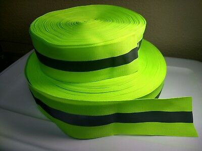 """2"""" Reflective Tape Sew-On lime yellow green, Real fabric, ribbon, ONE YARD"""