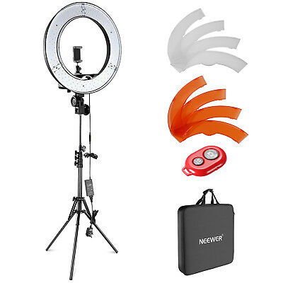 "Neewer 18"" Studio Dimmable 55w 240 LED Ring Light with Tripod Color Filter Kit"