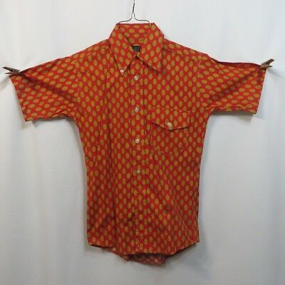 Vintage 50s Mens Shirt Cotton Dots Button Down Collar NOS AS IS Mid Century