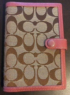 Coach Organizer Planner Signature Canvas with Pink Leather Lining