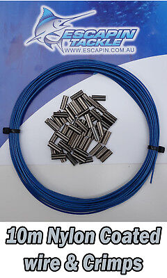 0.8mm 62kg Nylon coated Fishing Wire + Crimps. 10m Length. Shark wire. Quality