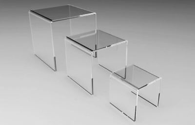 ^Small set of 3 Clear acrylic display risers 2 3 4 inch square wholesale