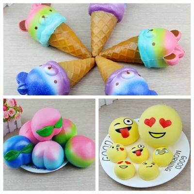 Cake Peach Ice Cream Scented Squishy Slow Rising Squeeze Strap Stress Relief Toy