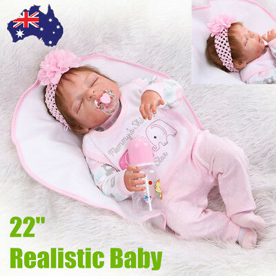 22 Inch Kids Reborn Baby Doll Full Silicone Lifelike Sleeping Newborn Doll GT
