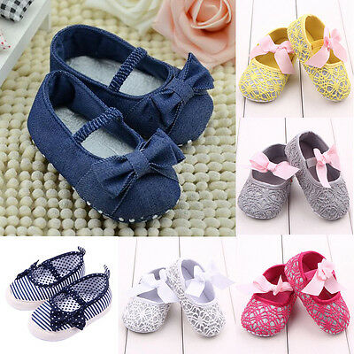 Toddler Baby Girls Bow Single Crib Shoes Prewalker Nonslip Kids Soft Sole