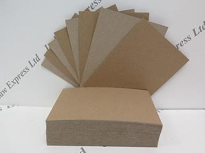 100 x A6 Recycled Brown Kraft Card 280gsm 148 x 105mm (Pic shows front/back)