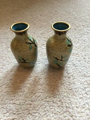"Gorgeous Pair Of Japanese Cloisonne Vases - Lovely Condition 3"" Tall"