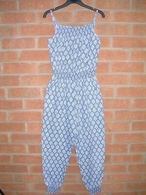 JOHNNIE B Girls Blue Foral Jumpsuit Play Suit Playsuit All-in-One Age 9-10 140cm