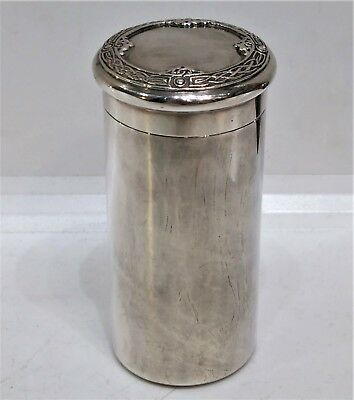 Antique Solid Silver Irish Cylindrical Box, Celtic Revival, Finnigans, C. 1920