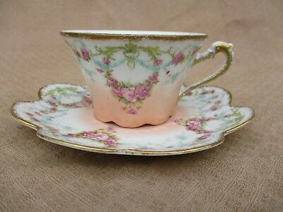 Antique Legrand Limoges 1924' Pink Roses Garland Tea/coffee Cup&saucer Louis Xvi