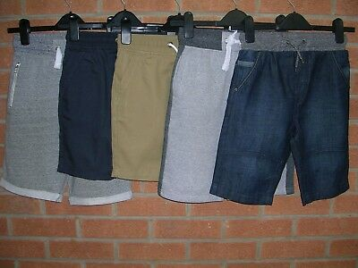 GEORGE Boys Bundle FIVE Pairs Beige Blue Cotton Shorts Bundle Age 8-9 134cm