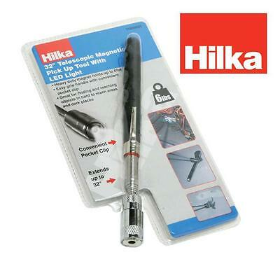 "HILKA TOOLS 32"" 815mm 6lb 2.72kg TELESCOPIC MAGNETIC PICK UP TOOL WITH LED LIGHT"