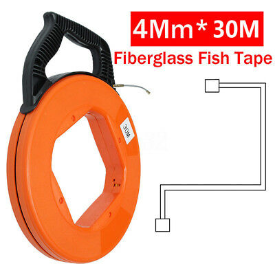 30M Fiberglass Fish Tape Reel Puller Conduit Ducting Pulling Wall Wire Cable Set