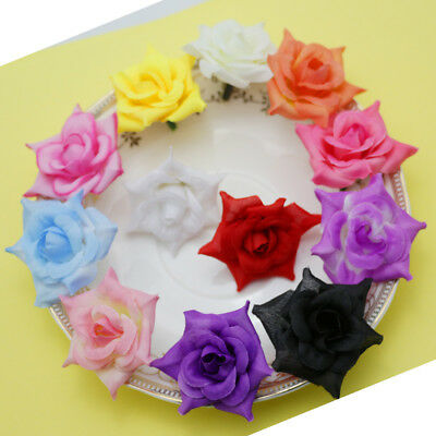 50PCS rose Artificial Silk Flowers Head DIY Wedding Home Party decoration DIY